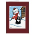 タキシード猫、ロビン及び雪だるまのクリスマスカード カード