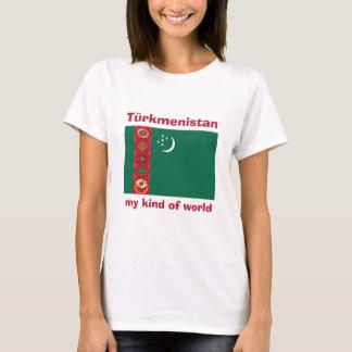 タキマンニスタンの旗 + 地図 + 文字のTシャツ Tシャツ