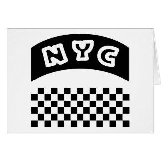 タクシーのチェッカーボードおよび旗が付いているNYCの切り出し カード