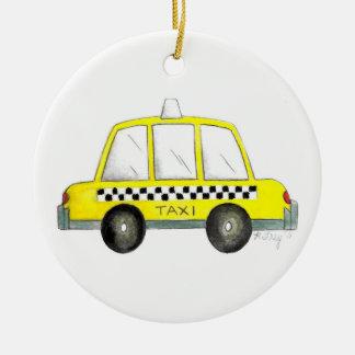 タクシーNYC黄色いニューヨークシティのチェック模様のタクシーのギフト セラミックオーナメント