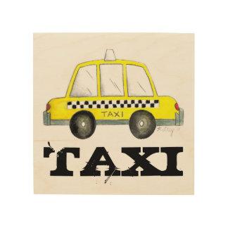 タクシーNYC黄色いニューヨークシティのチェック模様のタクシー車 ウッドウォールアート