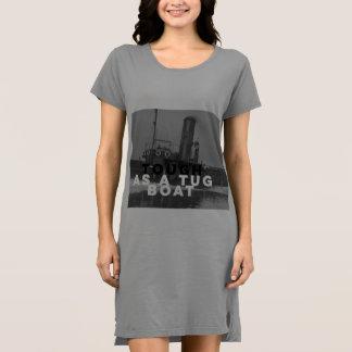 タグボートとして堅いレディース服のTシャツの長いティー ドレス
