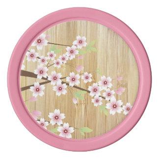 タケが付いているかわいらしいピンクの桜 ポーカーチップ