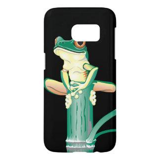 タケの微笑の緑のアマガエル SAMSUNG GALAXY S7 ケース