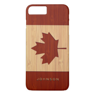 タケ一見によって刻まれるカナダの旗のカエデの葉 iPhone 8 PLUS/7 PLUSケース