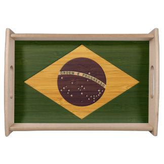 タケ一見及びヴィンテージのブラジルの刻まれた旗 トレー