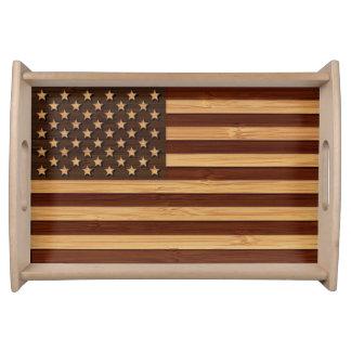 タケ一見及び刻まれたヴィンテージアメリカ米国の旗 トレー