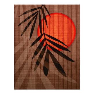 タケ及び赤い月の熱帯カスタマイズテンプレート チラシ