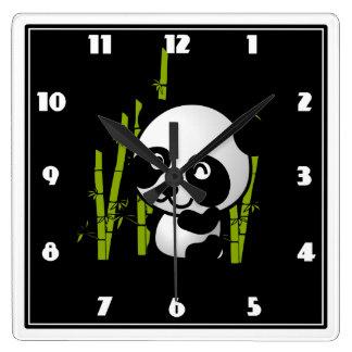 タケ果樹園のかわいい白黒パンダくま スクエア壁時計