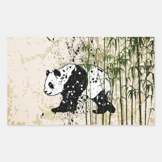 タケ森林の抽象的なパンダ 長方形シール