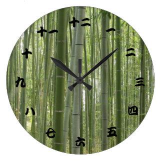 タケ森、日本のな漢字 ラージ壁時計