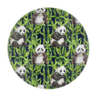 タケ水彩画パターンを持つパンダ カッティングボード