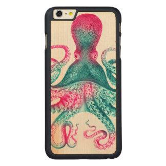 タコのイラストレーション-ヴィンテージ- kraken CarvedメープルiPhone 6 plus スリムケース
