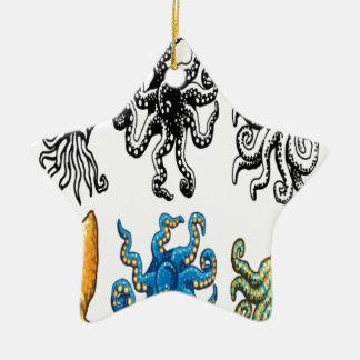 タコのデザイン 陶器製星型オーナメント