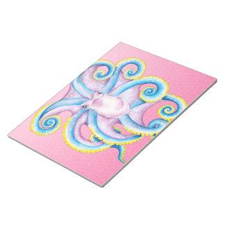 タコのピンクのステンドグラス ノートパッド
