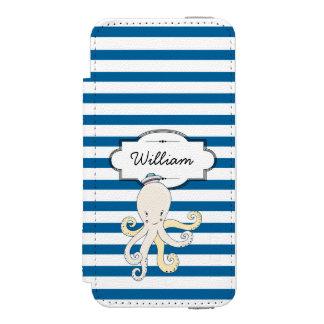 タコの名前入りで青および白のストライプ INCIPIO WATSON™ iPhone 5 財布 ケース