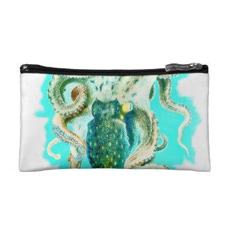 タコの水彩画のティール(緑がかった色) コスメティックバッグ