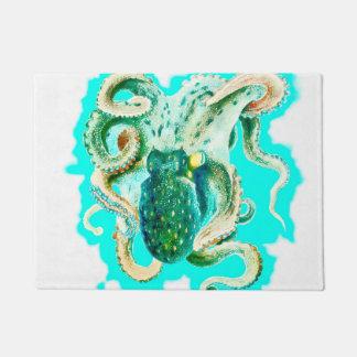 タコの水彩画のティール(緑がかった色) ドアマット