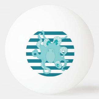 タコの青くはっきりしたでストライプなピンポン球 卓球ボール