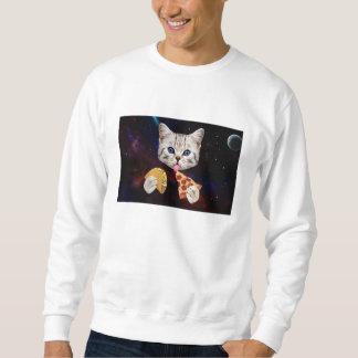 タコスおよびピザを持つ宇宙猫 スウェットシャツ