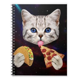 タコスおよびピザを持つ宇宙猫 ノートブック