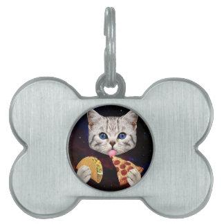 タコスおよびピザを持つ宇宙猫 ペットネームタグ
