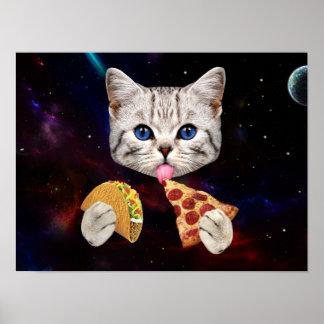 タコスおよびピザを持つ宇宙猫 ポスター