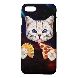 タコスおよびピザを持つ宇宙猫 iPhone 7ケース
