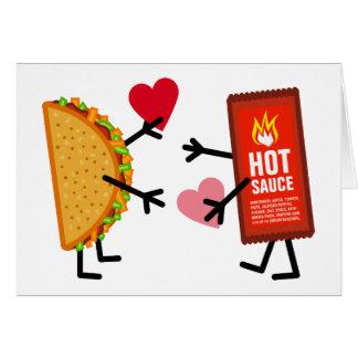 タコス及びホットソース-かわいいバレンタインデーのハート カード