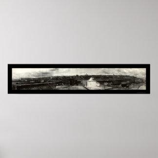 タコマ市WAの写真1908年のスカイライン ポスター