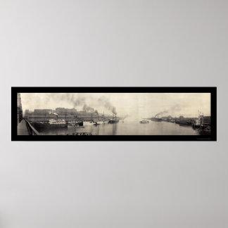 タコマ市WAは写真1908年を出荷します ポスター