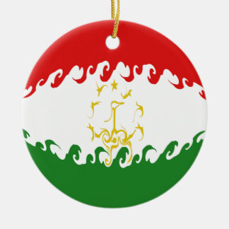 タジキスタンのすごい旗 セラミックオーナメント