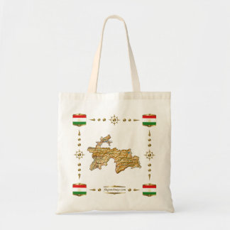 タジキスタンの地図 + 旗のバッグ トートバッグ