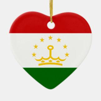 タジキスタンの旗のハートのオーナメント セラミックオーナメント