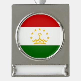 タジキスタンの旗 シルバープレートバナーオーナメント