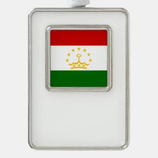 タジキスタンの旗 シルバープレートフレームオーナメント