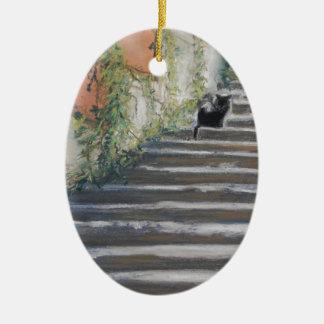 タスカニーの黒猫への階段 セラミックオーナメント