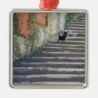タスカニーの黒猫への階段 メタルオーナメント