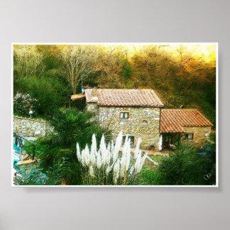 タスカニー、イタリア。 素朴な家 ポスター