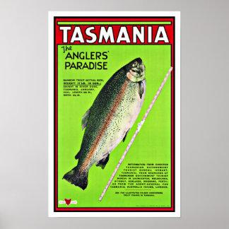 タスマニアオーストラリアの釣り人の楽園の魚釣り ポスター