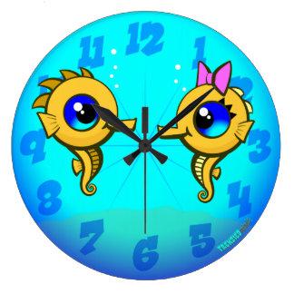 タツノオトシゴのカップル ラージ壁時計
