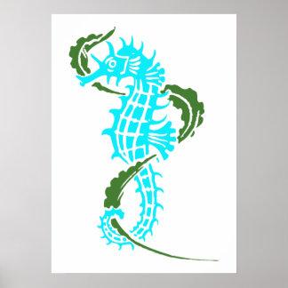 タツノオトシゴの水の青、緑および海藻 ポスター