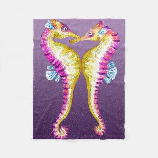 タツノオトシゴの紫色の泡 フリースブランケット