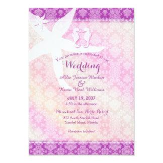 タツノオトシゴの組の紫色の熱帯ビーチ結婚式 12.7 X 17.8 インビテーションカード
