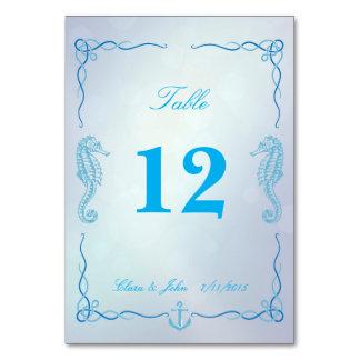 タツノオトシゴの薄暗がりの青いテーブル数カード カード