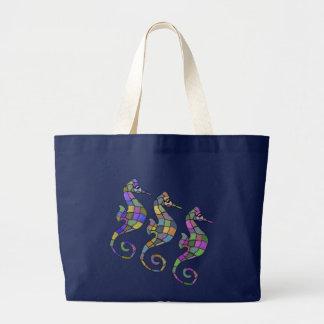 タツノオトシゴの虹 ラージトートバッグ
