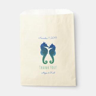 タツノオトシゴの青緑のビーチ結婚式の好意 フェイバーバッグ