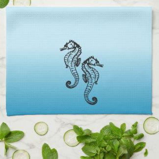 タツノオトシゴの青 キッチンタオル