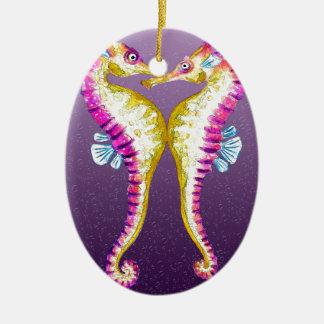 タツノオトシゴは紫色に接吻します セラミックオーナメント