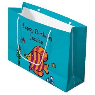 タツノオトシゴを持つオレンジおよび紫色の熱帯魚 ラージペーパーバッグ